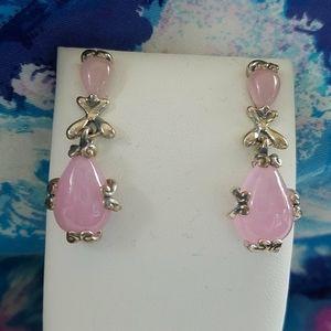 Pink Jade Carolyn Pollack Earrings New